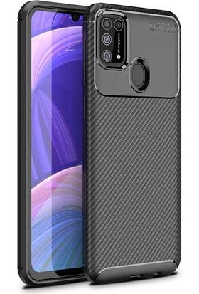 Fibaks Samsung Galaxy M21 Kılıf Rugged Armor Karbon Desenli Yüksek Kalite Silikon Negro