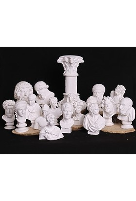 No Tiyatro 18'li Beyaz Yunan ve Roma Mitolojik Minimal Heykel Seti