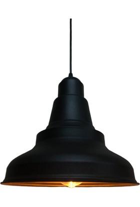Riolight Retro Siyah Gold Tekli Metal Sarkıt Çap: 28CM