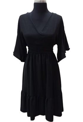 Sateen Siyah Keten V Yaka Kısa Volanlı Kollu Kiloş Elbise
