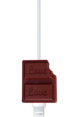 Happycase Sevimli Şarj Kablo Koruyucu Figürlü Kablo Çikolata