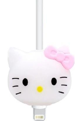 Happycase Sevimli Şarj Kablo Koruyucu Figürlü Kablo Beyaz Kedi