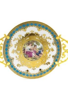 sembol Markız Vintage Porselen Yuvarlak Tepsi