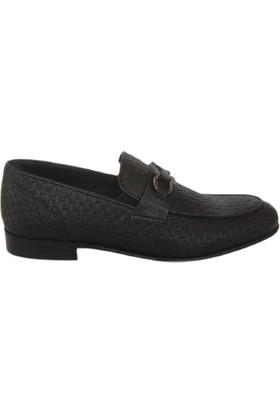 Kemal Tanca Deri Erkek Ayakkabı Siyah Kösele Taban 05035