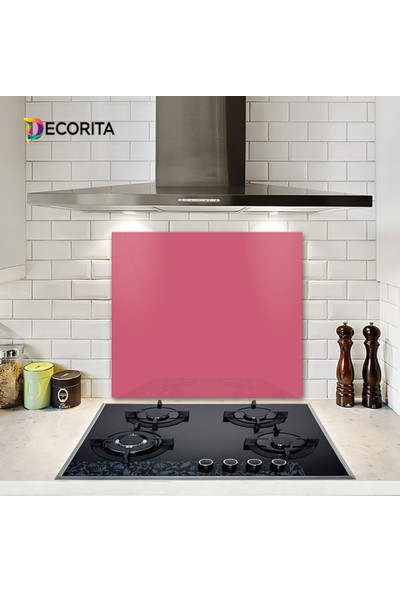 Decorita Cam Ocak Arkası Koruyucu Düz Renk - Pembe 52cm x 60cm