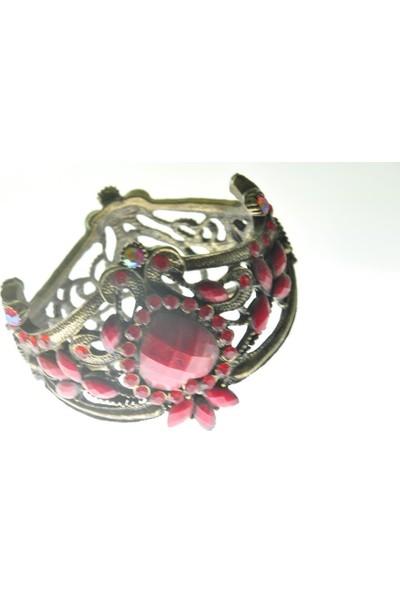 Hd Marketim Otantik Swarovski Taşlı Çiçekli Kelepçe Metal Bileklik