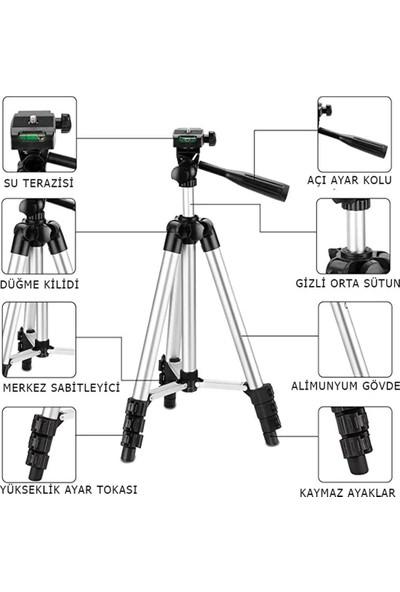Zamass 3110 Terazili Tripod Kamera Telefon Tutucu Ayarlanabilir 102Cm Uzunluk Monopod Youtuber