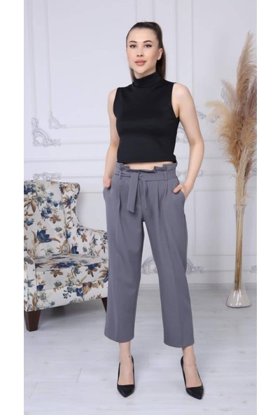 Banuhan Bel Detaylı Kumaş Pantolon