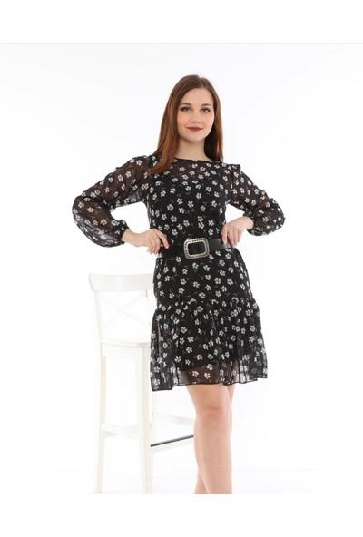 Banuhan Etek Fırfırlı Şifon Elbise