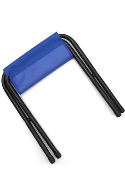1 Adet Mini Mavi Katlanır Kamp Taburesi Balıkçı Taburesi - Plaj Sandalyesi - Kamp Sandalyesi