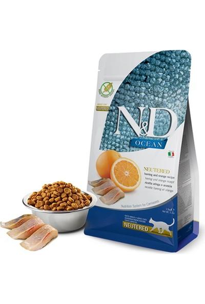 N&D N-D Ocean Ringa Balık-Portakal Tahılsız Kısırlaştırılmış Kedi Maması 1,5 kg