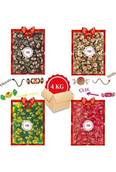 Kent Bayram Şekeri 4 x 1 kg Avantajlı Bayram Kolisi Kent Çikolin, Missbon Sütlü, Limonatat, Tofy Çilek