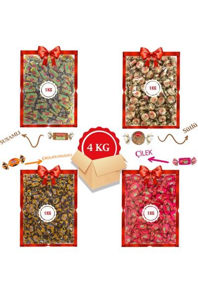 Kent Bayram Şekeri 4 x 1 kg Avantajlı Bayram Kolisi Tofy Çilek, Elegan Çikolata Dolgulu, Misbon Sütlü, Susamlı