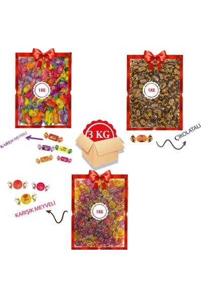 Kent Bayram Şekeri 3 x 1 kg Bayram Kolisi Missbon Meyveli, Tofy Karışık, Elegan Çikolata Dolgulu