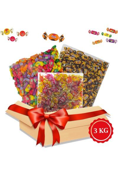 Kent Bayram Şekeri 3 x 1 kg Bayram Kolisi Misbon Meyveli, Tofy Karışık, Elegan Çikolata Dolgulu- Bayram Şekeri