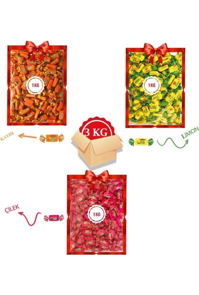 Kent Bayram Şekeri 3 x 1 kg Bayram Kolisi Tofy Kayısı, Tofy Limon, Tofy Çilek