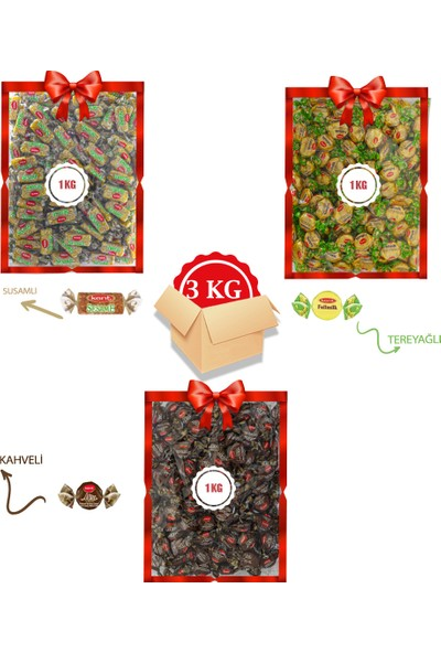 Kent Bayram Şekeri 3 x 1 kg Bayram Kolisi Missbon Kahveli, Fullmilk Tereyağlı, Susamlı