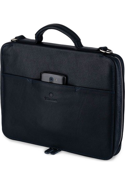 Tgbatelıer Organizer Hakiki Deri Macbook-Notebook-Tablet Çantası Lacivert