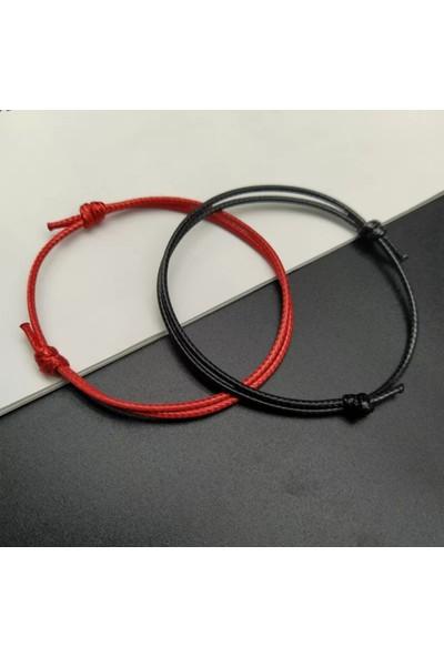2 Adet Kırmızı Siyah Ipli Bileklik Çift Sevgili Bilekliği