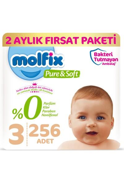 Molfix Pure&Soft 3 Beden Midi 2 Aylık Fırsat Paketi 256 Adet