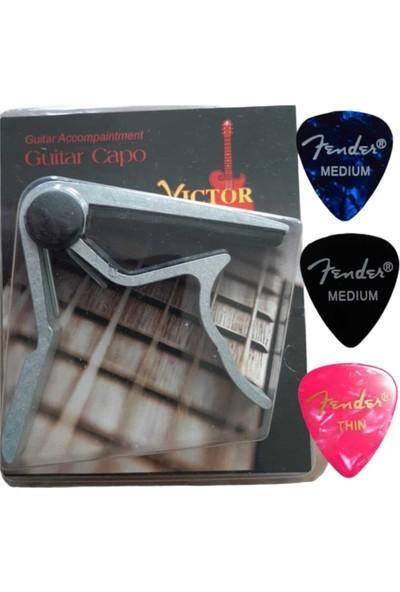 Fender Victor Guitar Capo Saz Kapo Bağlama Kapo Gitar Kapo + 2 Medium + 1 Thin Fender Pena Picks