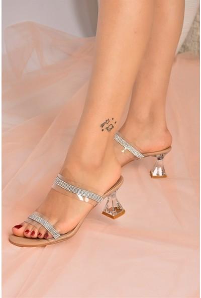 Fox Shoes Ten Taşlı Şeffaf Cam Topuklu Kadın Ayakkabı K510991023