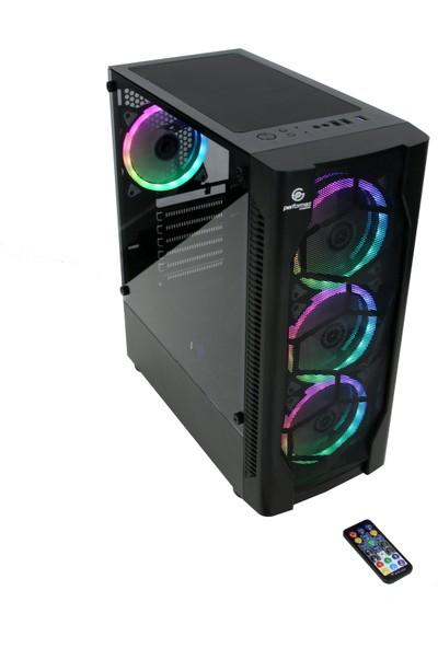 Performax Inferno Tempered Cam RGB 650W 80+Bronze Midi Tower Bilgisayar Kasası Siyah