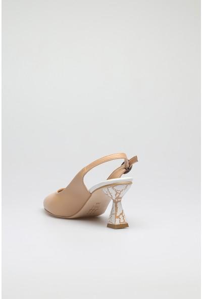 Altinayak Mermer Topuk Desen Arka Açık Ayakkabı