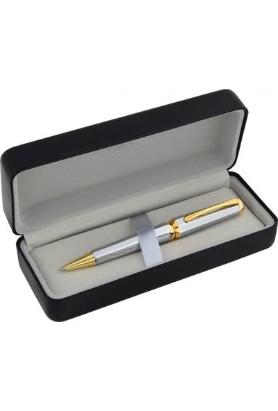 Steelpen Gıza Tükenmez Kalem Gold Krom Desenli 925