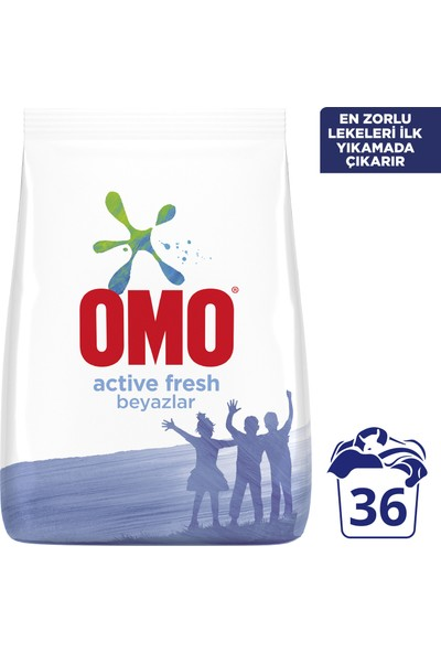 Omo Toz Çamaşır Deterjanı Active Fresh Beyazlar İçin En Zorlu Lekeleri İlk Yıkamada Çıkarır 6 KG 36 Yıkama 1 Adet