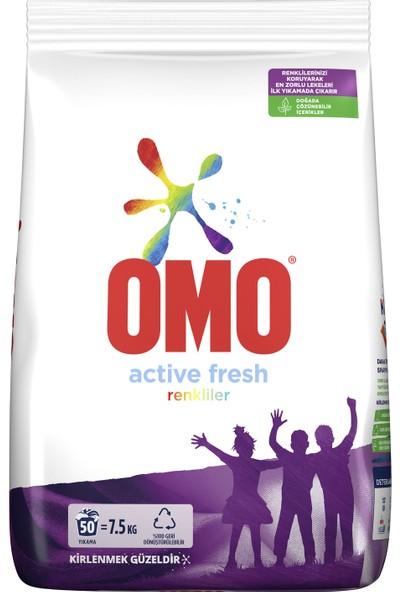 Omo Toz Çamaşır Deterjanı Active Fresh Renkliler Renklilerinizi Koruyarak En Zorlu Lekeleri İlk Yıkamada Çıkarır 7.5 KG 50 Yıkama 1 Adet