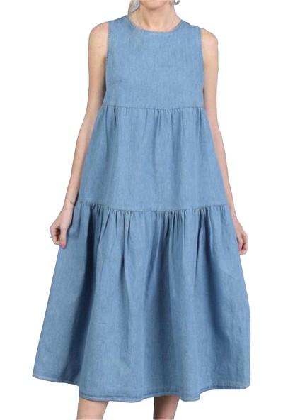 Denmar Sırt Kurdele Detaylı Mavi Kot Elbise