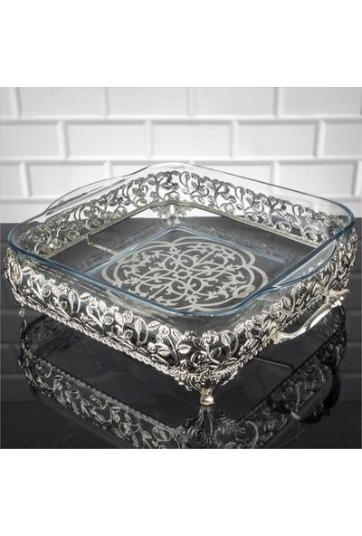 Zeyve Roza Kare Büyük Borcam Sunumluk Ikramlık Servislik Gümüş