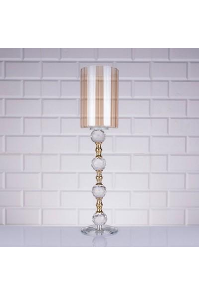 Evvehediyelikeşya Lüx Dekoratif Cam Taşlı Altın Şamdan & Mumluk 42 cm Yükseklik