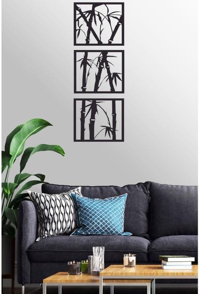 Antdesign 3mm Mdf Lazer Kesim 3 Parça Bambu Temalı Dekoratif Tablo 30 x 84