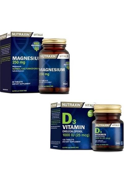Nutraxin Magnesium 250 Mg 60 Tablet + D3 1000 Iu 120 Tablet