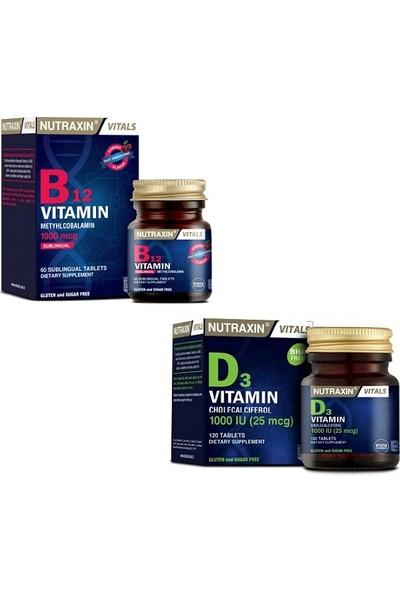 Nutraxin B12 Vitamini 1000 Mcg 60 Dilaltı Tableti + D3 Vitamini 1000 Iu 120 Tablet