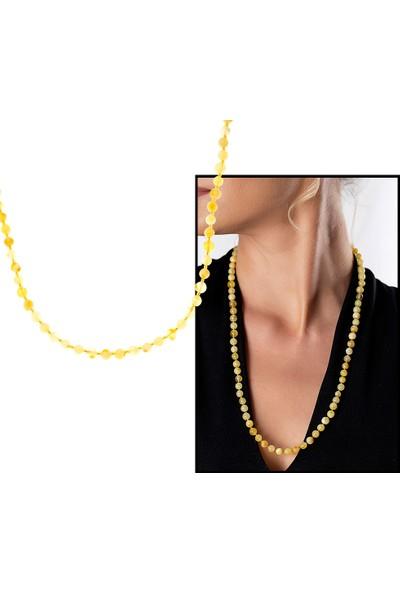 Gümüş Hediye Al Açık Sarı Şeffaf Doğal Damla Kehribar Kadın Kolye