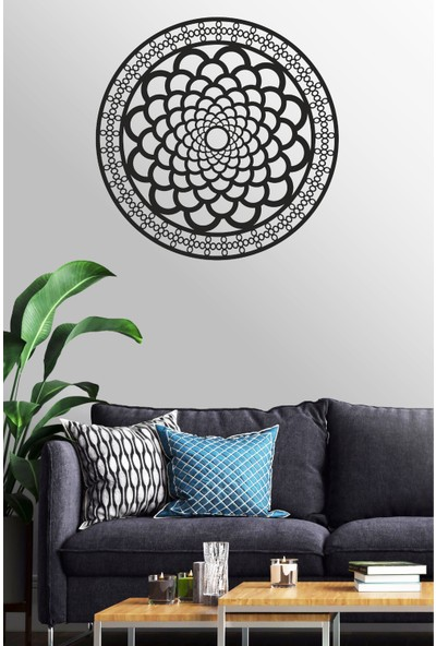 Antdesign 3mm Mdf Lazer Kesim Yuvarlak Mandala Temalı Dekoratif Tablo 40 x 40