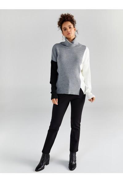 Faik Sönmez Balıkçı Yaka Kontrast Renkli Triko Bluz 61759