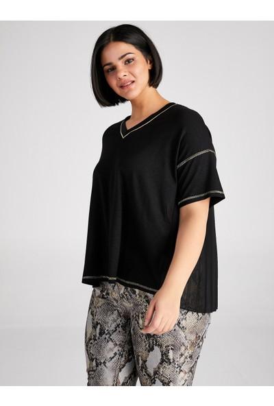 Faik Sönmez Pilise Şifon Sırt Detaylı Sim Biyeli T-Shirt 61609