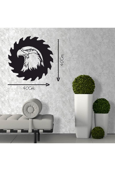 Antdesign 3mm Mdf Lazer Kesim Dişli Kartal Temalı Dekoratif Tablo 40 x 40