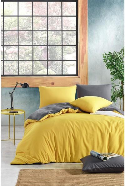 Nevresimev Basic Sarı & Antrasit Çift Taraflı Tek Kişilik Nevresim Seti