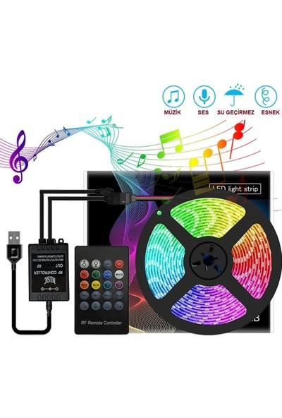 Azemax 50 cm Ses Destekli Rgb Kumandalı USB Şerit LED Aydınlatma