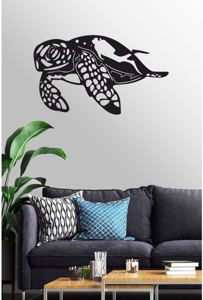 Antdesign 3mm Mdf Lazer Kesim Caretta Caretta Temalı Dekoratif Tablo 110 x 65