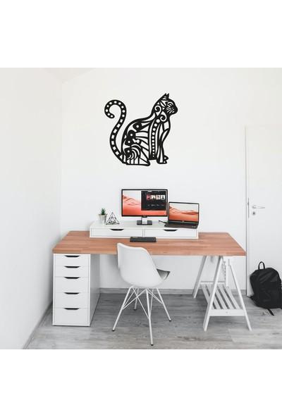 Antdesign 3mm Mdf Lazer Kesim Mandala Kedi Temalı Dekoratif Tablo 40 x 40