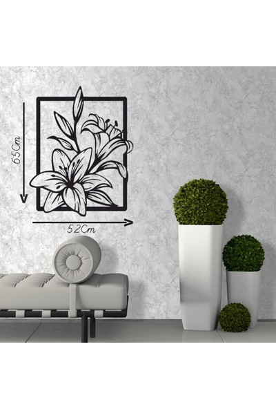 Antdesign 3mm Mdf Lazer Kesim Çerçeveli Çiçek Temalı Dekoratif Tablo 52 x 65