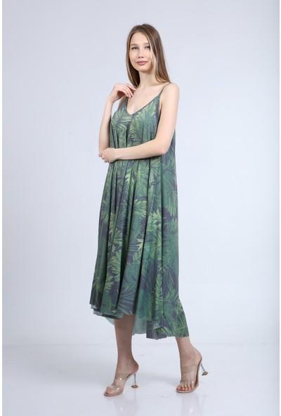 Home Store Elbise W V Yaka Ince Askili Okaliptus Yaprak Desenli Yeşil
