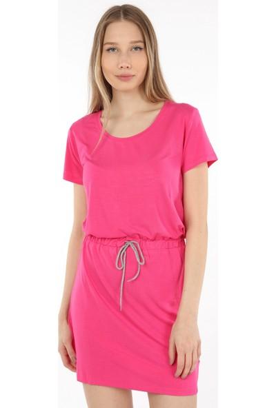 Home Store Elbise*melanie*belden Ip Büzgülü Kısa Kol Pembe