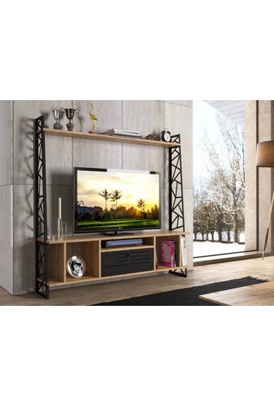 Wood'n Love Lidya Kitaplıklı Ferforje Metal Ayaklı 140 cm Tv Ünitesi - Atlantik Çam / Siyah